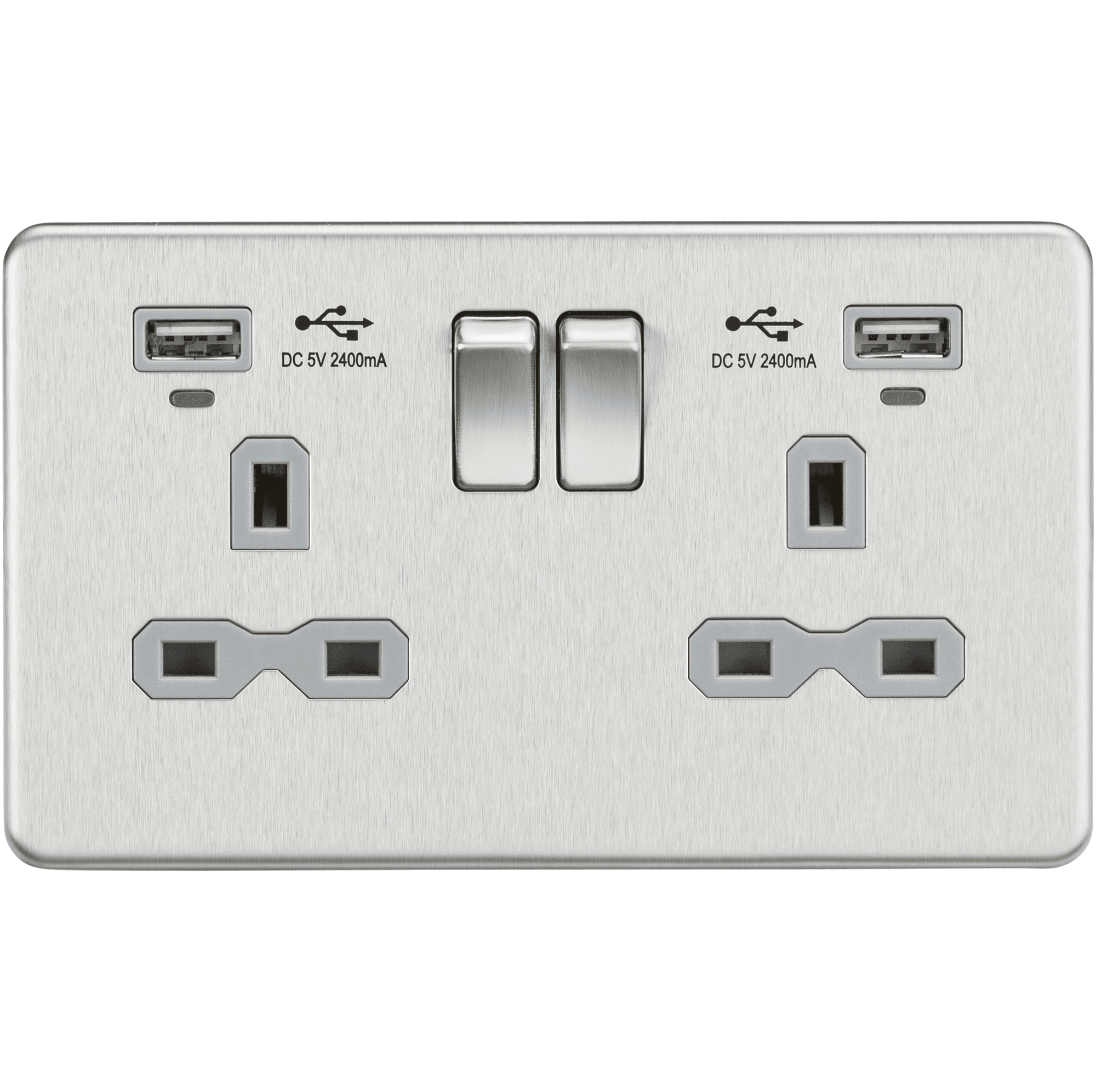 Knightsbridge Screwless 13 A 2 G DP Switched Socket-Blanc Mat